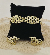 Vintage Signed Coro Gold Plated Bracelet & Earring Set C. Mid Century Be... - €78,55 EUR