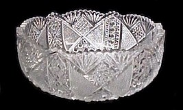 Pressed Cut Glass Bowl Saw Tooth Button Daisy Fan Ribbon Vintage Collectible - $58.77