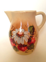 ROBINSON RANSBOTTOM  TAN/GOLD  PITCHER HAND PAINTED w/ MAGNOLIA & RED FL... - $38.52