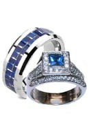 His Hers 3 Pc Sapphire Blue & Clear Cz Wedding ... - $39.99
