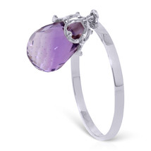 Brand New 3 ct 14K   White Gold Ring Dangling Briolette Purple Amethyst - £104.26 GBP