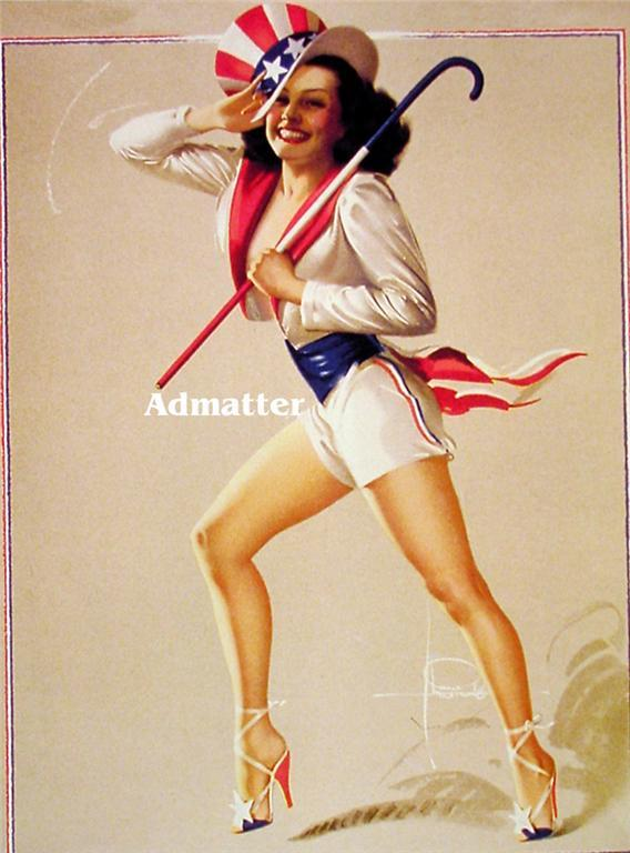 Patriotic Pin-up Girl Rolf Armstrong incredible print!