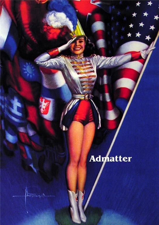 """Patriotic Pin-up Girl with American Flag 8-1/2"""" X 11"""" Print Rolf Armstrong Art"""