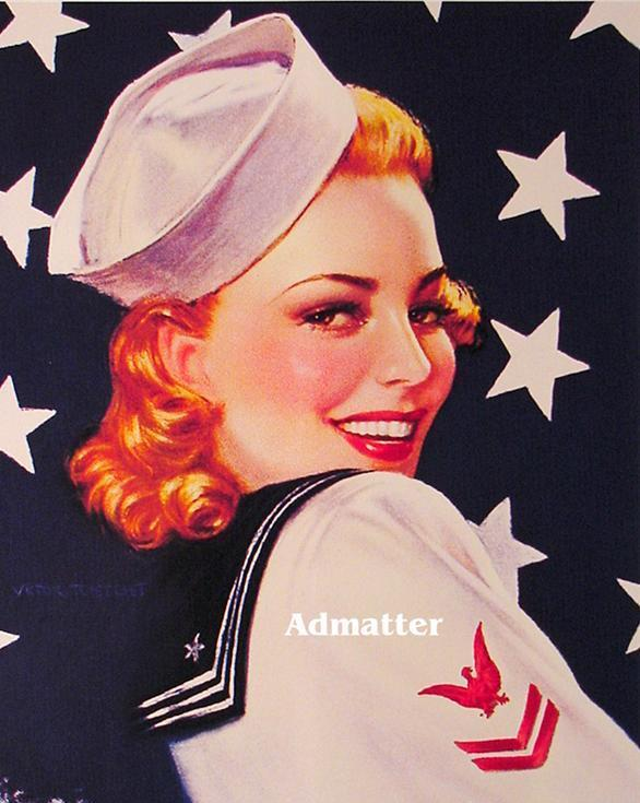 Patriotic Red Head Pin-up Navy Girl  Victor Tuetchet