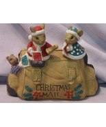 Mice Christmas Mail Holder Ceramic Decorative Collectible - $9.95