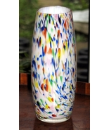 Art Glass : An attractive cased speckled multicoloured glase Vase - $23.71