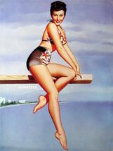 Pearl Frush Sexy Pin-up Girl Print on Diving Board! - $4.00