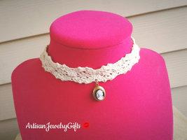 Victorian Lady Cameo Locket Ivory Lace Choker Necklace Tiny Oval Locket ... - $44.00