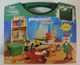 Playmobil Christmas Santa's Workshop set # 5987 w/ take along case - New - $21.00