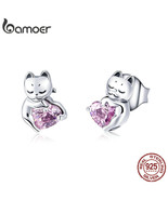 New Arrival 925 Sterling Silver Cat Pussy Pink Cubic Zircon Small Stud Earrings  - $15.45