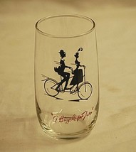 Gay Nineties Roly Poly Clear Anchor Hocking Drinking Glass A Bicycle for... - $12.86