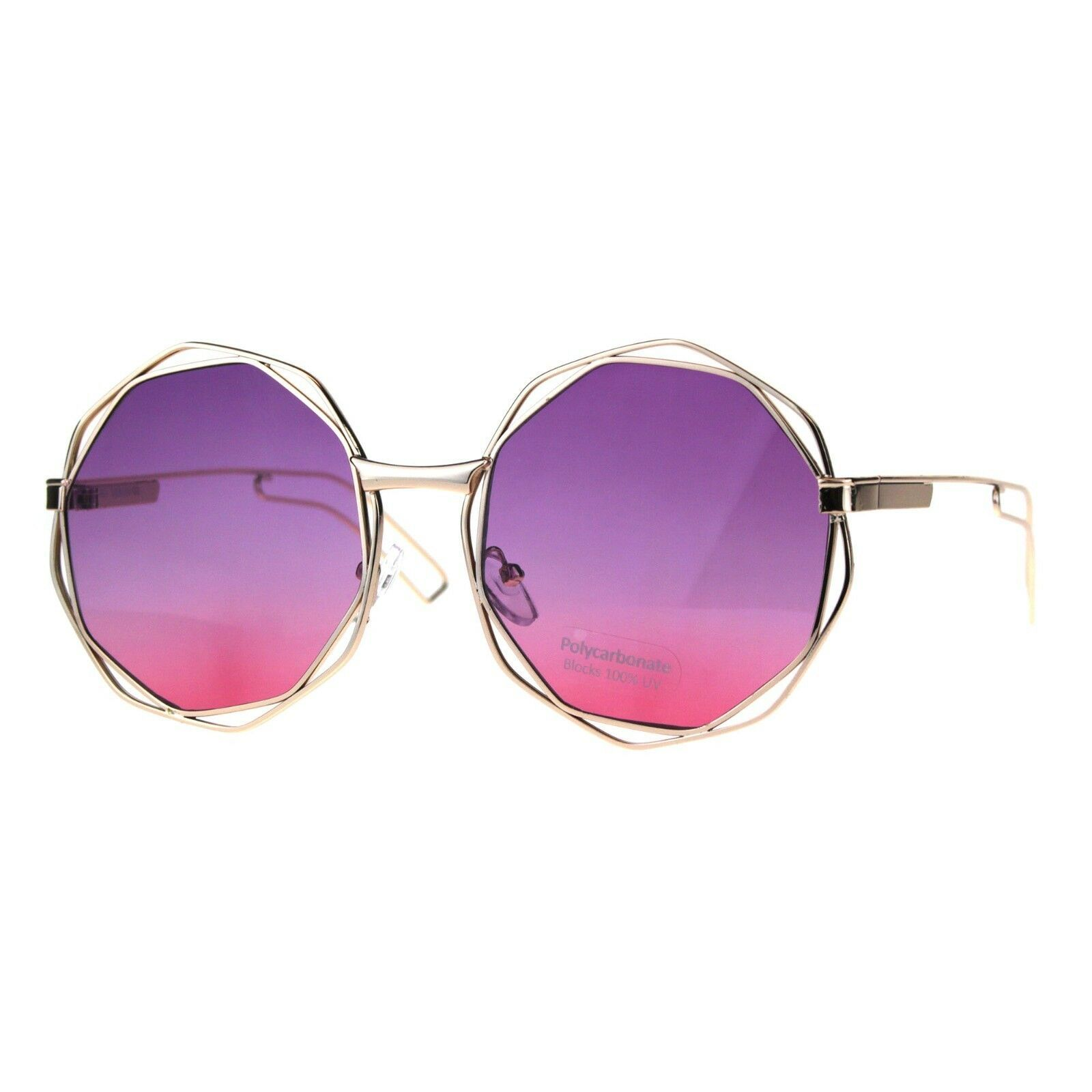 Womens Fashion Sunglasses Gold Angled Round Double Frame Ombre Color Lens