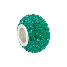 Sterling Silver Rondel Emerald Green Crystal Bead Fits All Bead Bracelets - $16.82