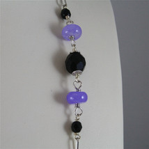 .925 SILVER RHODIUM NECKLACE 24,41 In, AMETHYST, BLACK ONYX, PURPLE CRYSTALS. image 2