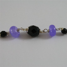 .925 SILVER RHODIUM NECKLACE 24,41 In, AMETHYST, BLACK ONYX, PURPLE CRYSTALS. image 5