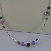 .925 SILVER RHODIUM NECKLACE 24,41 In, AMETHYST, BLACK ONYX, PURPLE CRYSTALS. image 3