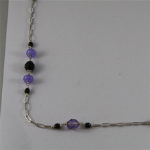 .925 SILVER RHODIUM NECKLACE 24,41 In, AMETHYST, BLACK ONYX, PURPLE CRYSTALS. image 4