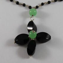 .925 RHODIUM SILVER NECKLACE WITH BLACK ONYX AND GREEN JADE image 3