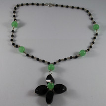 .925 RHODIUM SILVER NECKLACE WITH BLACK ONYX AND GREEN JADE image 2