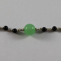 .925 RHODIUM SILVER NECKLACE WITH BLACK ONYX AND GREEN JADE image 4
