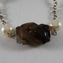 .925 RHODIUM SILVER BRACELET WITH BROWN QUARTZ AND WHITE PEARLS image 2