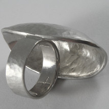 SOLID 925 SILVER OVAL BIG BAND RING, SATIN AND HAMMERED BY NANIS, MADE IN ITALY image 4