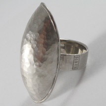 SOLID 925 SILVER OVAL BIG BAND RING, SATIN AND HAMMERED BY NANIS, MADE IN ITALY image 3