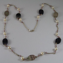.925 SILVER RHODIUM NECKLACE WITH WHITE PEARLS, PINK CRYSTALS AND FLUORITE image 2