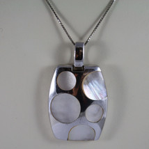 .925 SILVER RHODIUM NECKLACE WITH RECTANGULAR PENDANT WITH MOTHER OF PEARL DISC image 3