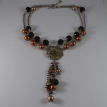 .925 SILVER RHODIUM MULTI STRAND NECKLACE WITH SMOKY QUARTZ AND GOLDEN PEARLS image 2