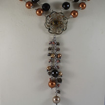 .925 SILVER RHODIUM MULTI STRAND NECKLACE WITH SMOKY QUARTZ AND GOLDEN PEARLS image 3