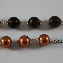 .925 SILVER RHODIUM MULTI STRAND NECKLACE WITH SMOKY QUARTZ AND GOLDEN PEARLS image 4