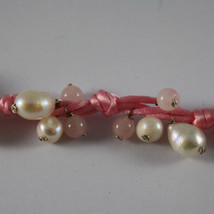.925 SILVER RHODIUM BRACELET WITH PINK CORD, WHITE PEARLS AND PINK QUARTZ image 2