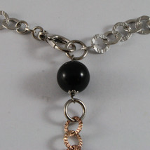 .925 SILVER RHODIUM AND ROSE GOLD PLATED NECKLACE WITH BLACK ONYX & ROUND MESH image 4