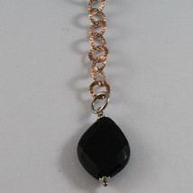 .925 SILVER RHODIUM AND ROSE GOLD PLATED NECKLACE WITH BLACK ONYX & ROUND MESH image 3