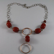 .925 SILVER RHODIUM NECKLACE WITH RED CARNELIAN AND ROSE GOLD PLATED WHEELS image 2