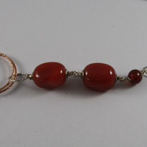 .925 SILVER RHODIUM NECKLACE WITH RED CARNELIAN AND ROSE GOLD PLATED WHEELS image 4