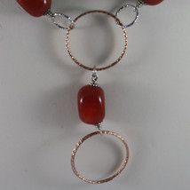 .925 SILVER RHODIUM NECKLACE WITH RED CARNELIAN AND ROSE GOLD PLATED WHEELS image 3