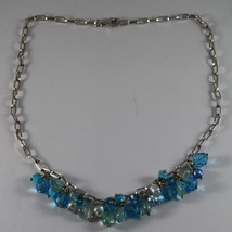 .925 SILVER RHODIUM NECKLACE WITH PEARLS, QUARTZ, TURQUOISE AND CRISTALS image 2