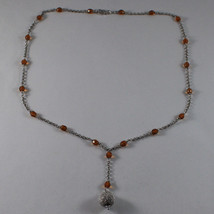 .925 SILVER RHODIUM NECKLACE WITH ORANGE CRYSTALS AND SILVER SPHERE image 2