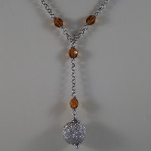 .925 SILVER RHODIUM NECKLACE WITH ORANGE CRYSTALS AND SILVER SPHERE image 3