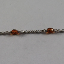 .925 SILVER RHODIUM NECKLACE WITH ORANGE CRYSTALS AND SILVER SPHERE image 4