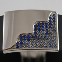 .925 RHODIUM SILVER BRACELET WITH RUBBER AND PLATE WITH BLUE CRISTALS image 3