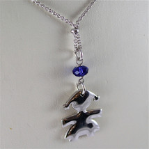.925 RHODIUM SILVER NECKLACE, LITTLE GIRL SHAPED PENDANT, BLUE CRISTAL image 2
