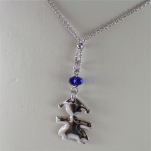 .925 RHODIUM SILVER NECKLACE, LITTLE GIRL SHAPED PENDANT, BLUE CRISTAL image 3
