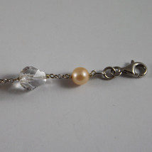 .925 RHODIUM SILVER BRACELET WITH SMOKY QUARTZ, CRYSTALS AND PEARLS image 3