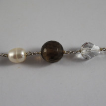 .925 RHODIUM SILVER BRACELET WITH SMOKY QUARTZ, CRYSTALS AND PEARLS image 2