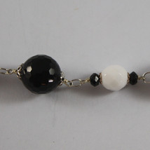 .925 RHODIUM SILVER BRACELET WITH BLACK ONYX AND WHITE AGATE image 2