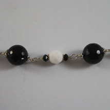 .925 RHODIUM SILVER BRACELET WITH BLACK ONYX AND WHITE AGATE image 3