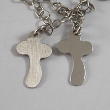 .925 RHODIUM SILVER MULTI STRAND BRACELET WITH PLATE AND CROSSES image 2